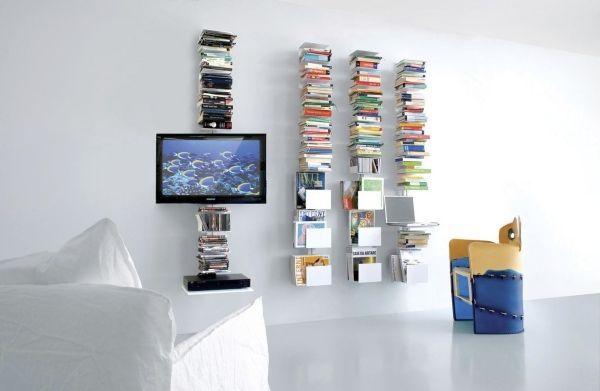 Wohnzimmer Bibliothek Flachbild Fernseher Versteckte Kabelführung