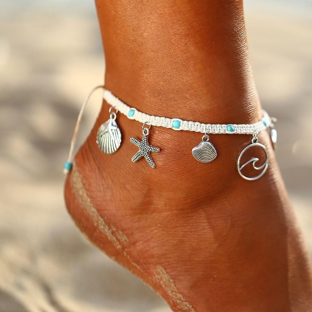 Boho Starfish Stone Anklets Set For Women Vintage Handmade Wave Anklet Bracelet