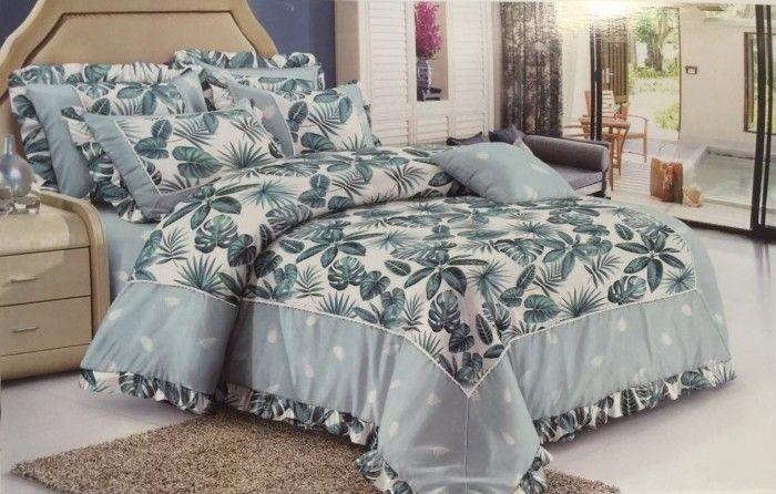 Green Leaf Assortment Printed Cotton Duvet Cover Bedroom