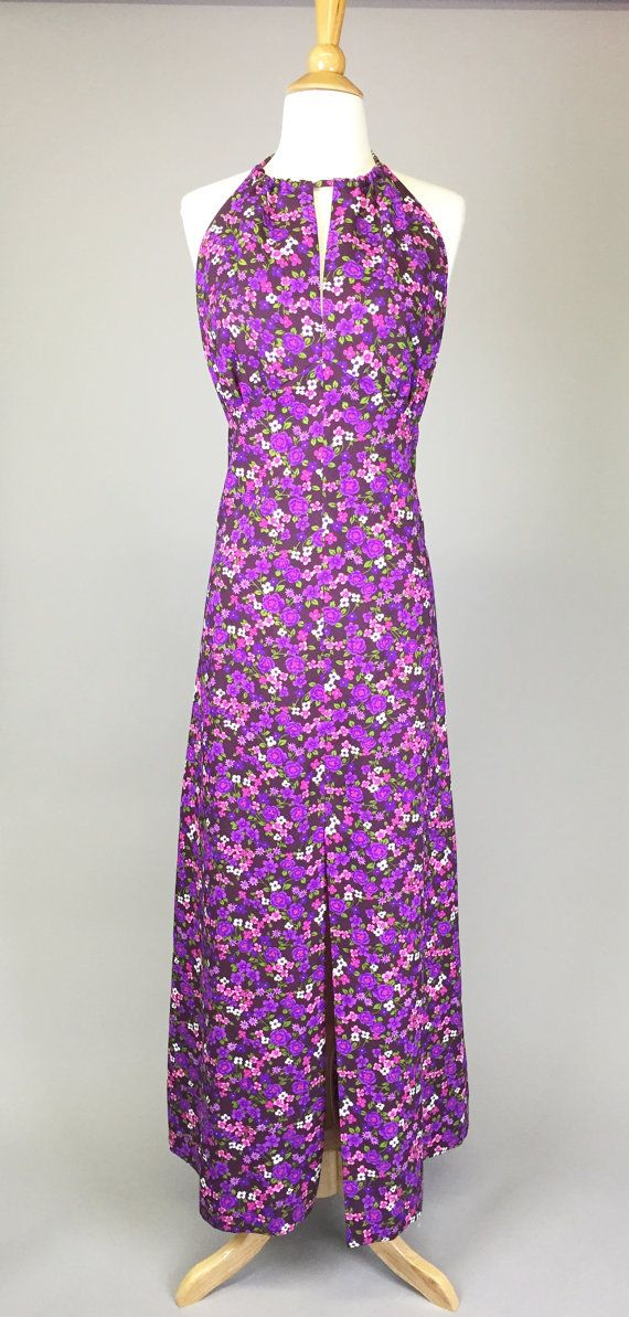 The Hippie Halter Vintage 70s Maxi Dress Purple by RIPandROSE