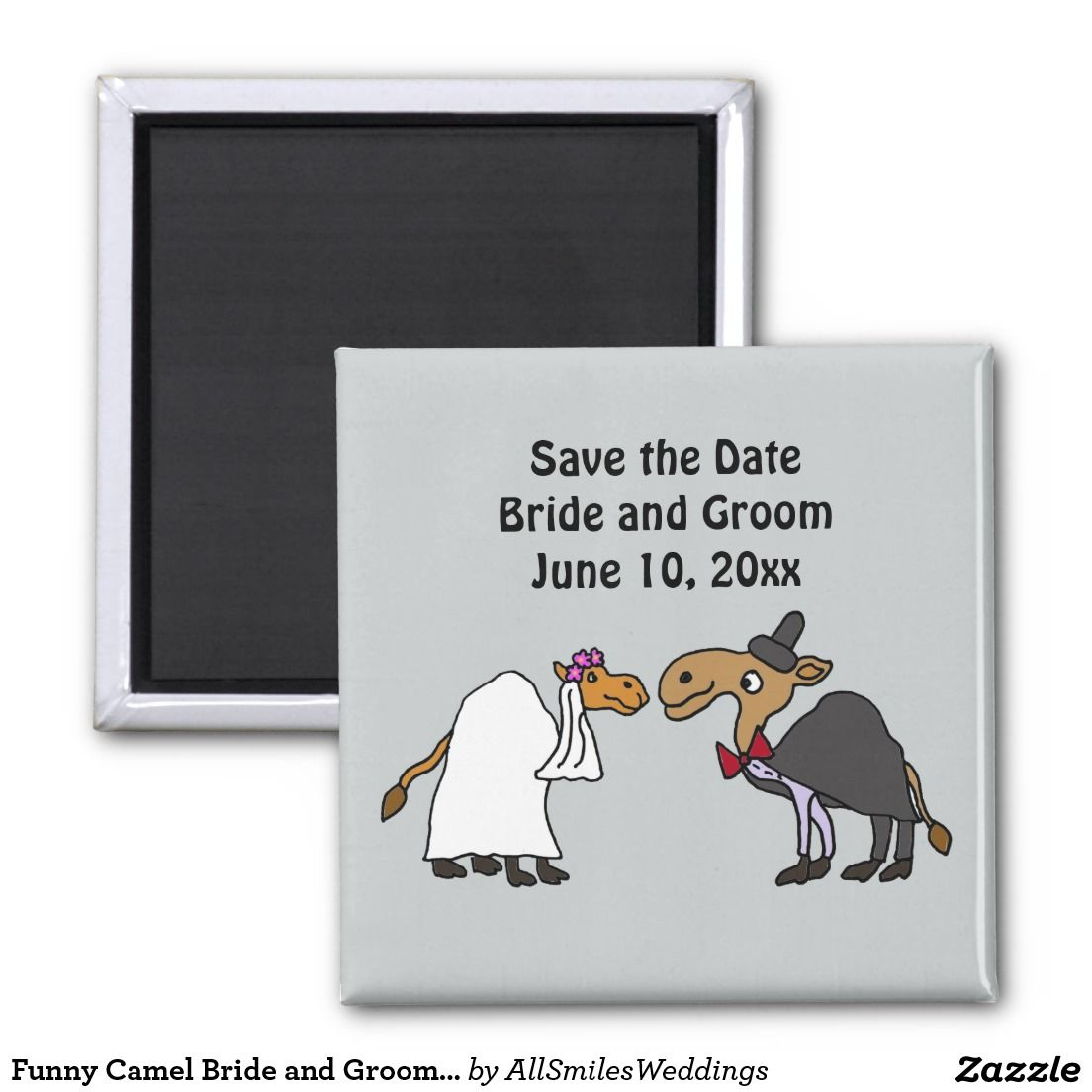 funny camel bride and groom wedding cartoon 2 inch square magnet