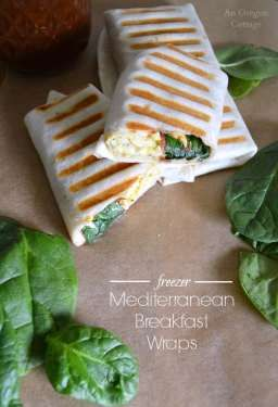 Freezer Mediterranean Breakfast Wraps- a flavorful hot breakfast on-the-go: http://anoregoncottage.com/freezer-mediterranean-breakfast-wraps/
