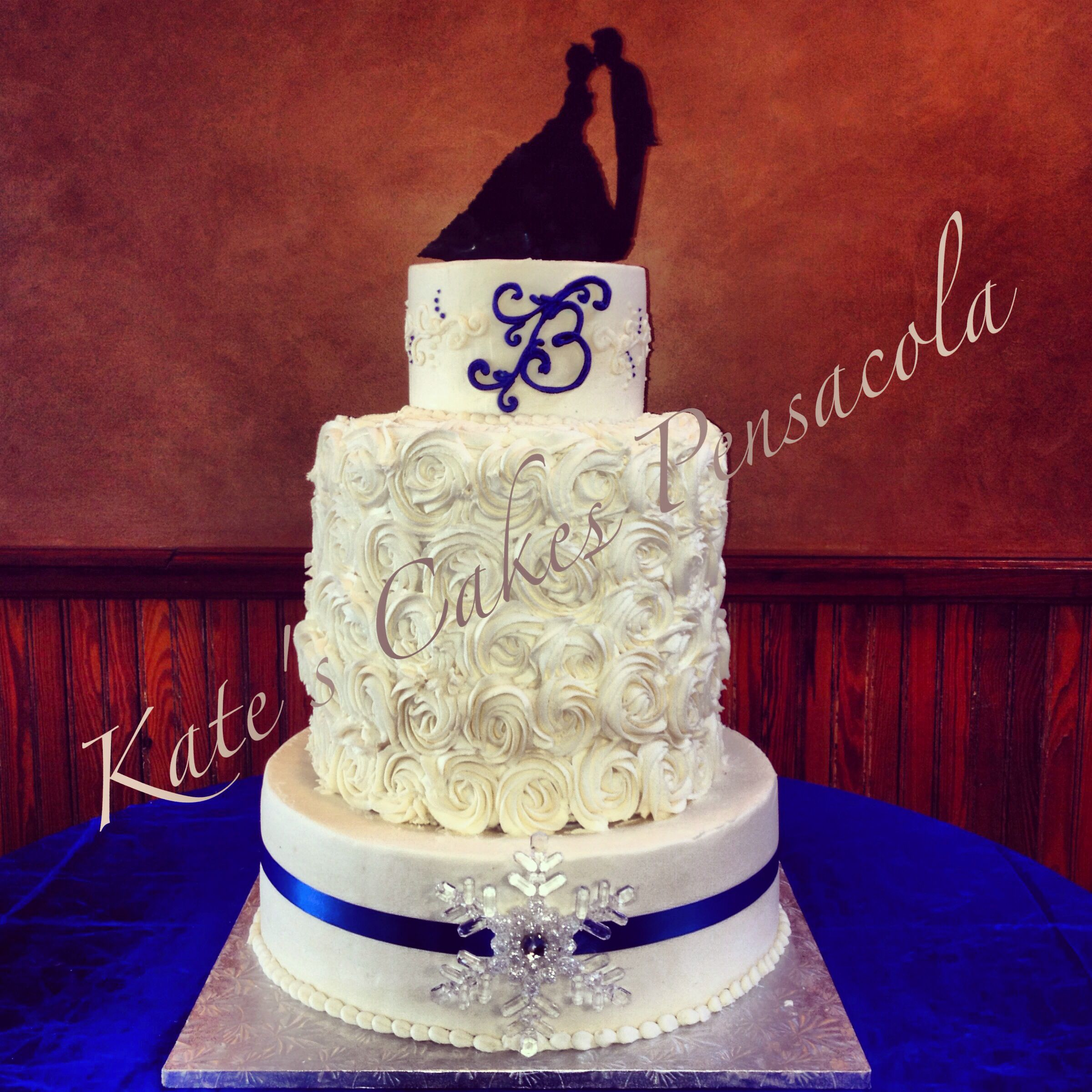Winter wedding cake Rosettes Silhouette topper