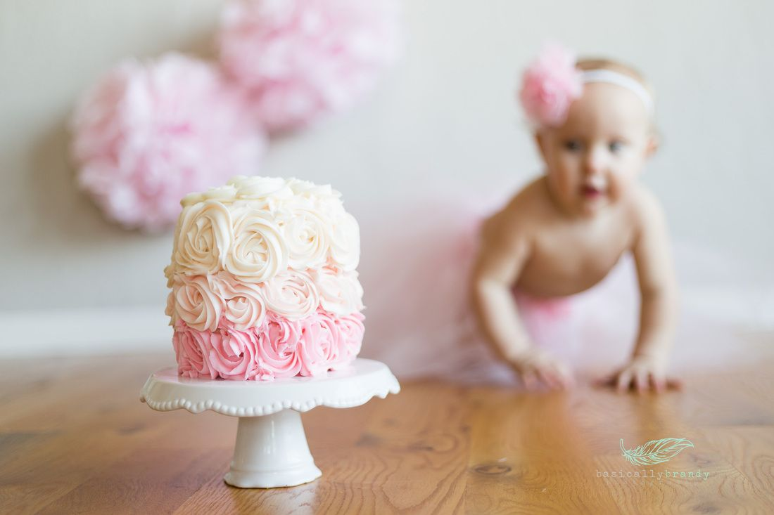 One Year Portraits One Year Old Girl Smash Cake Session