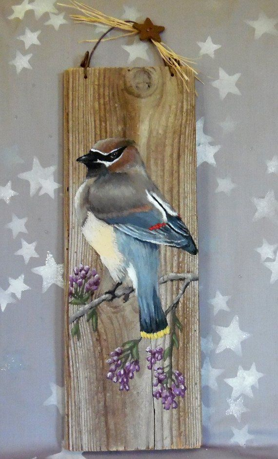 Cedar Waxwing on a Flower Branch, songbird, authentic barnwood, rustic, hand painted, 5 3/8″ x 15 1/4″