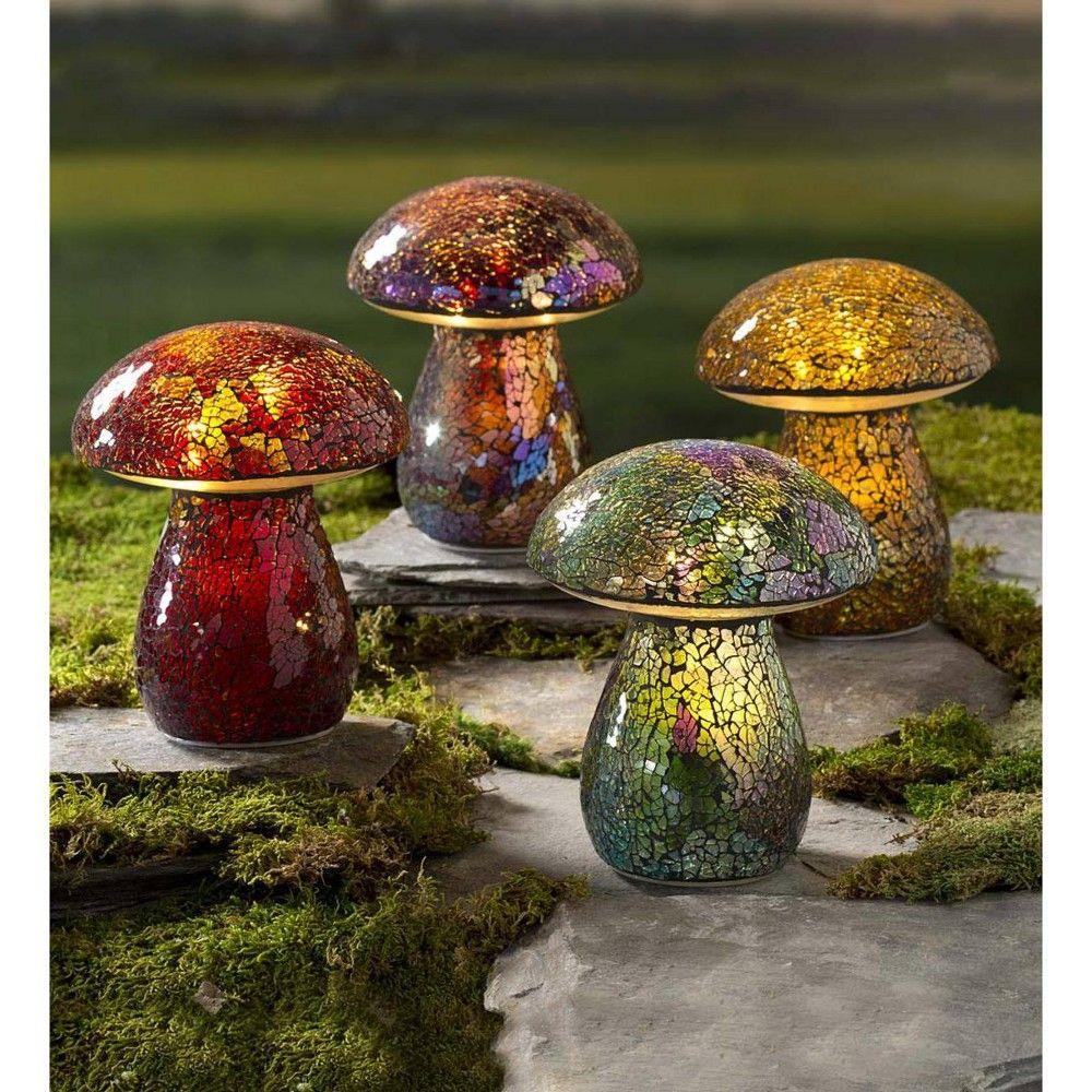 Glass Mosaic Mushroom Lawn Ornament Amber Plow Hearth Lawn Ornament Mosaic Glass Fairy Garden Accessories