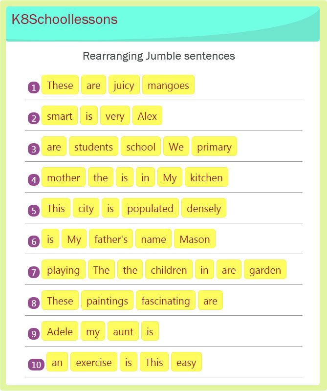 Jumbled sentences exercises 13 primary pinterest sentences this exercise includes sentences with words in the wrong order and kids have to put them in the right order free online worksheet ibookread Read Online