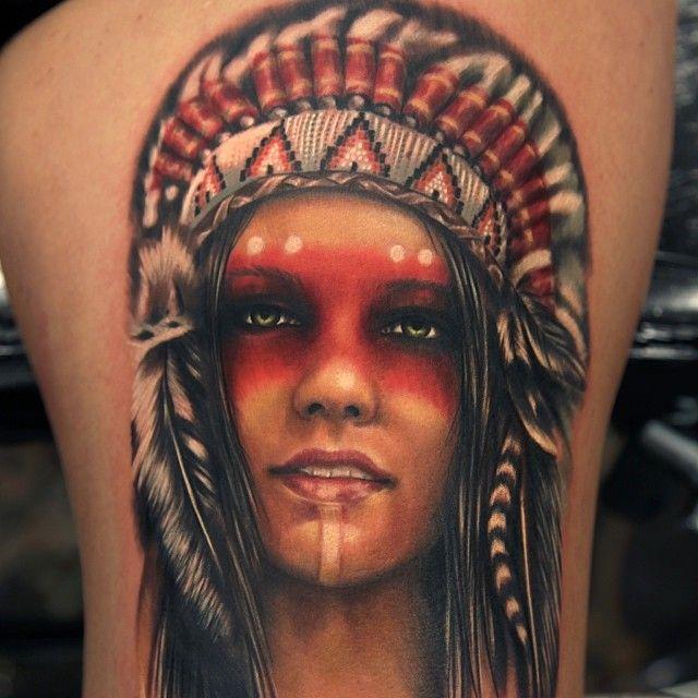 Native american woman tattoo headdress for Indian woman tattoo