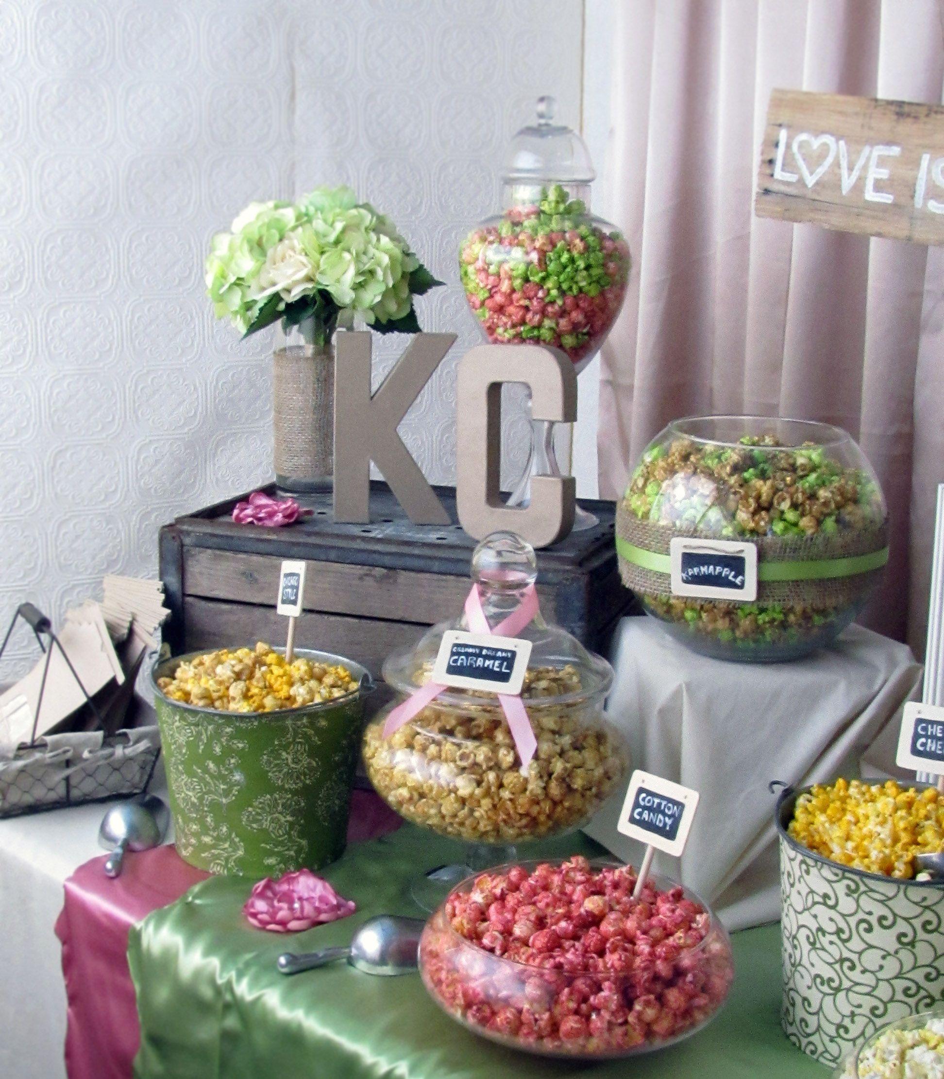 Wedding Snack Bar Ideas: Rustic Chic Wedding Popcorn Bar
