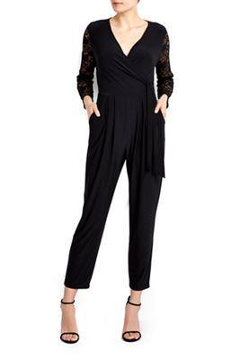 da136538ab Wallis Petite black lace sleeve jumpsuit-