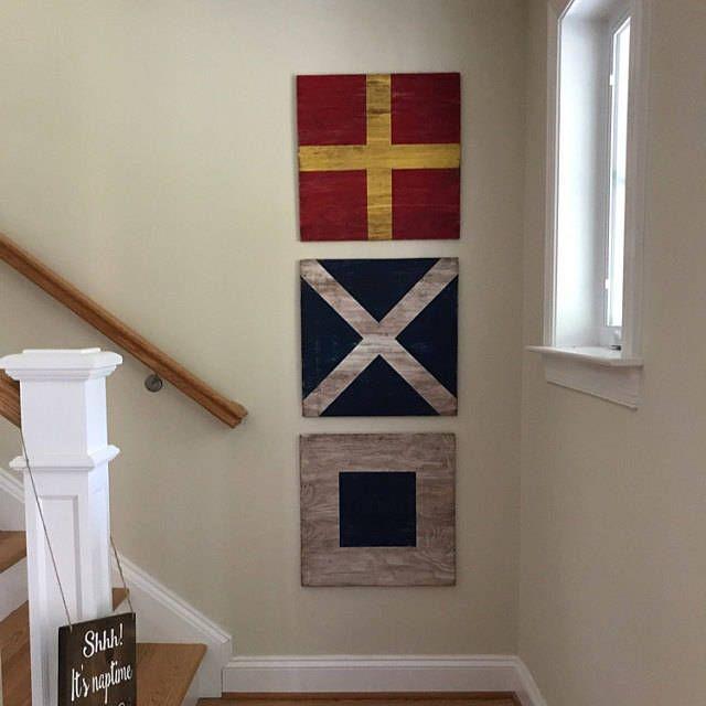 Photo of Wood 12 inch Nautical Flags.  Custom Signal flags.  Nautical Gallery Wall Art. Nautical Decor. Sailing Decor. Wall Art. Lake Shore Home