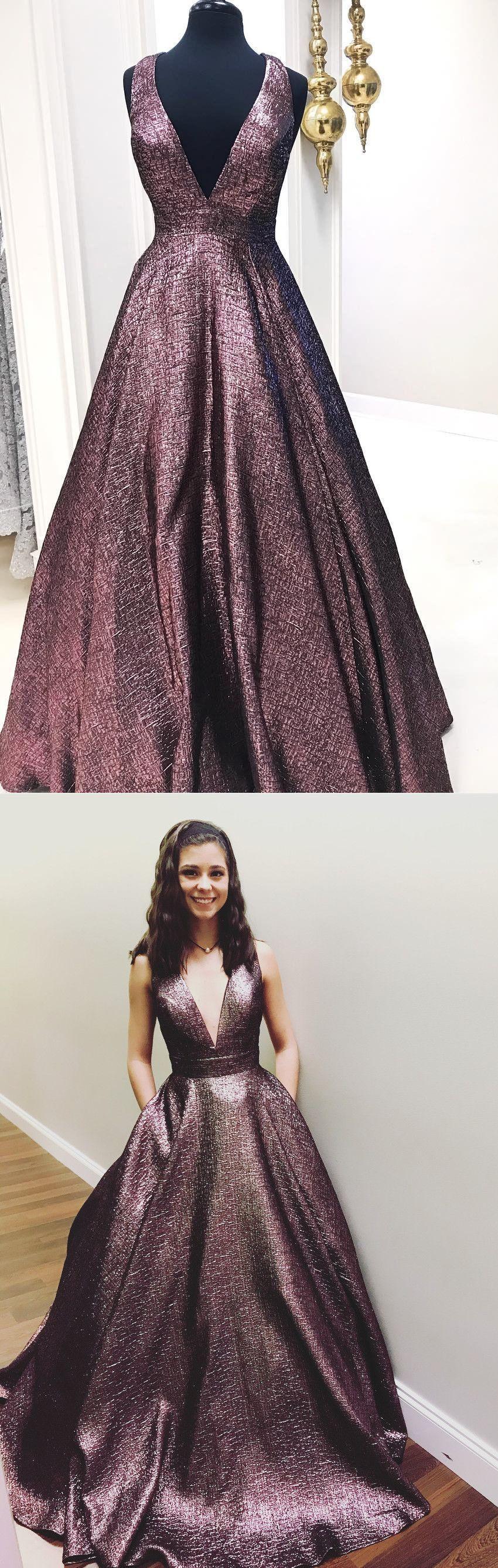 Elegant v neck chocolate long prom dress ball gown
