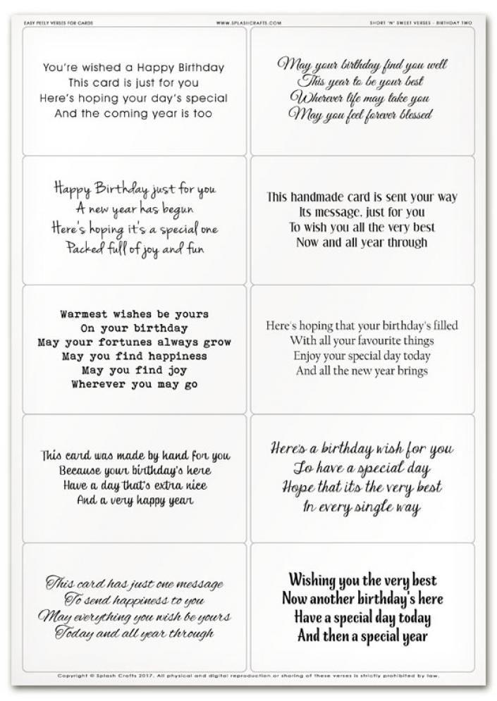 Easy Peely Verses for Cards - Short \'n\' Sweet Birthday Sheet 2 ...