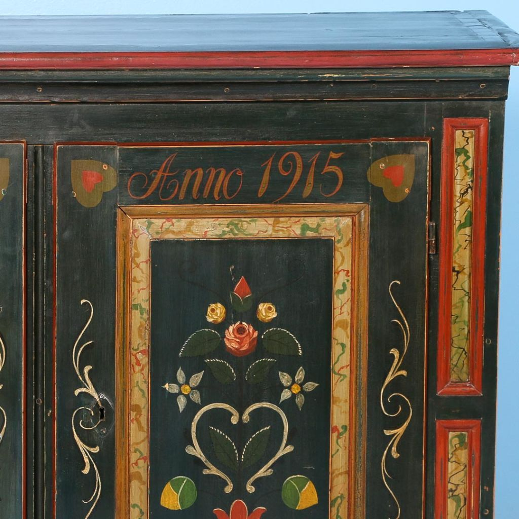 Antique Original Green Painted Sideboard Denmark Dated 1915 Scandinavian Antiques More Painting Cabinets Antiques Decorative Painting
