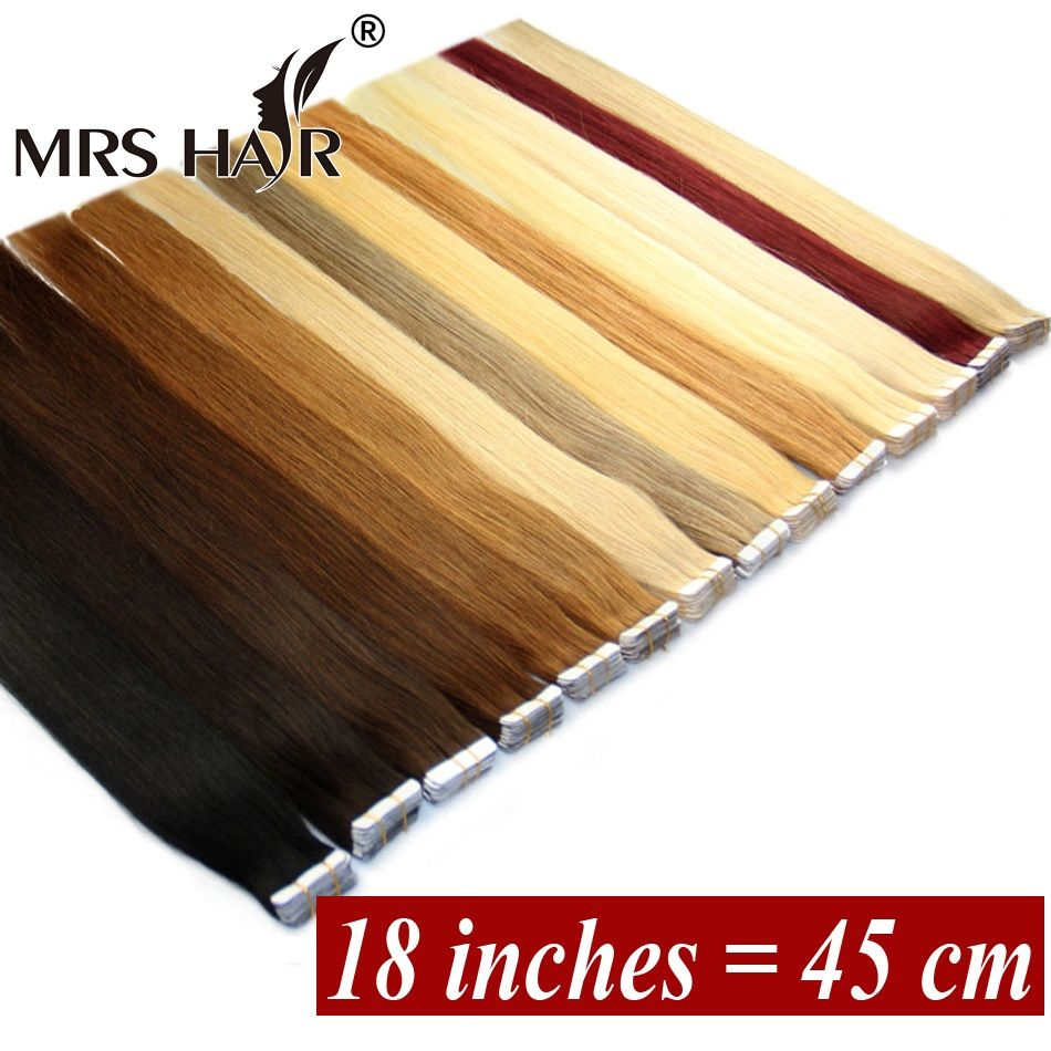 18 Inches Tape In Human Hair Extensions Zijdeachtige Rechte Braziliaanse Remy Op Tape 20 stks Tape Hair Extensions Promotie
