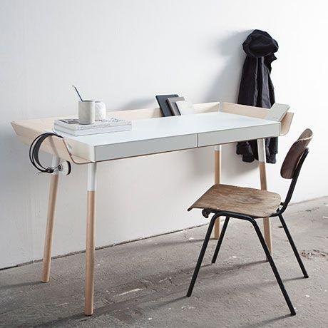 2 drawer writing desk white by for emko for Kleiner schreibtisch modern