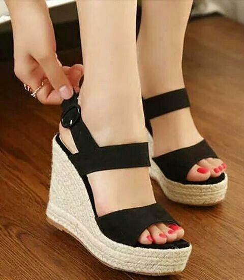 2468968e2e6 Black wedges | Shoes | Shoes, Cheap wedges, Online shopping shoes