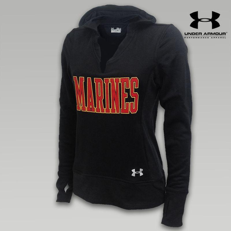 Black Sweat Item Womens Armour Marines Hooded Under Varsity Y74Sw