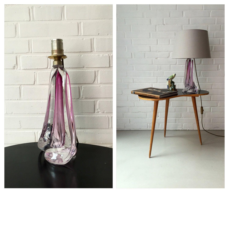 Marvelous Vintage Lampe Val St Lambert belgische Glaslampe Lambert Tischlampe Mid u