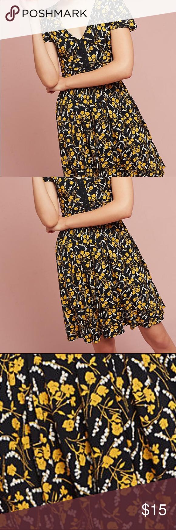 Black Yellow Dress Anthropologie Dress Dresses Yellow Dress [ 1740 x 580 Pixel ]