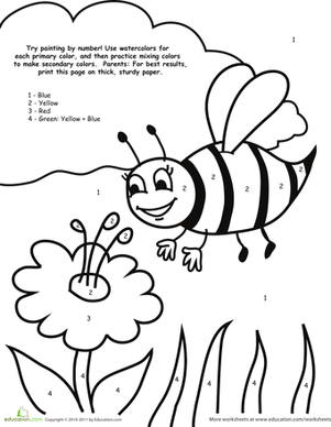 Watercolor Paint By Number Bee Worksheet Education Com Preschool Coloring Pages Preschool Colors Bee Coloring Pages