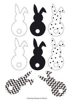 paasslinger haasjes zwart wit cheveron dot. met watjes staartjes maken | ostern, basteln