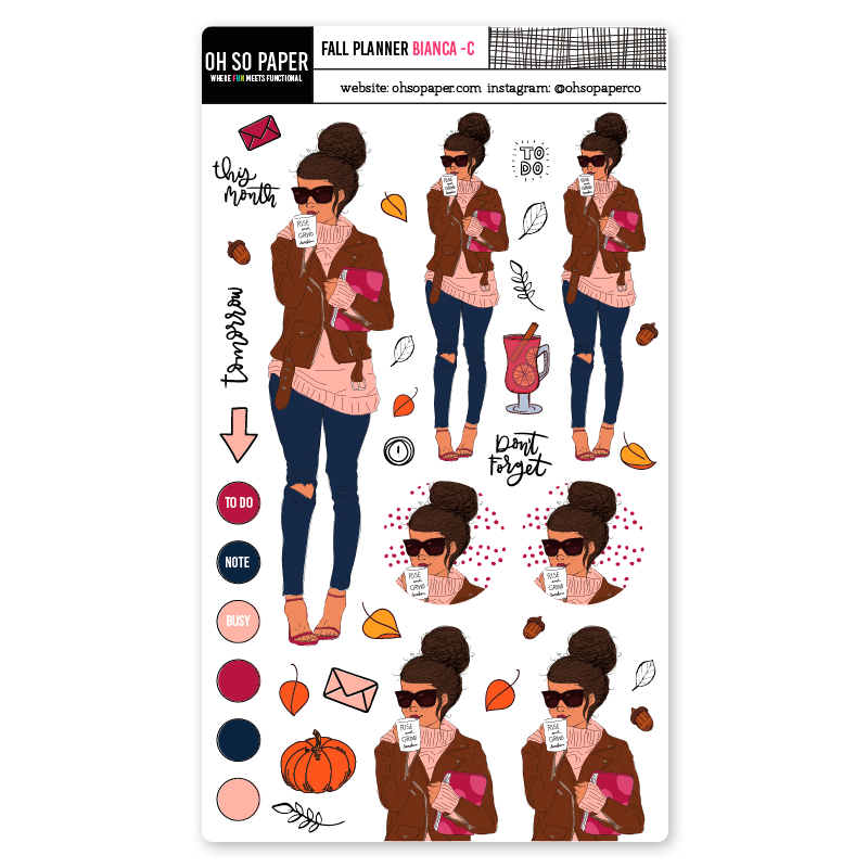 Fall planner curly hair sticker set