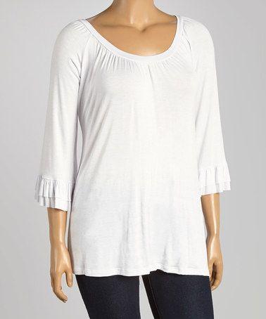 Look at this #zulilyfind! White Ruffle Three-Quarter Sleeve Top - Plus by Poliana Plus #zulilyfinds