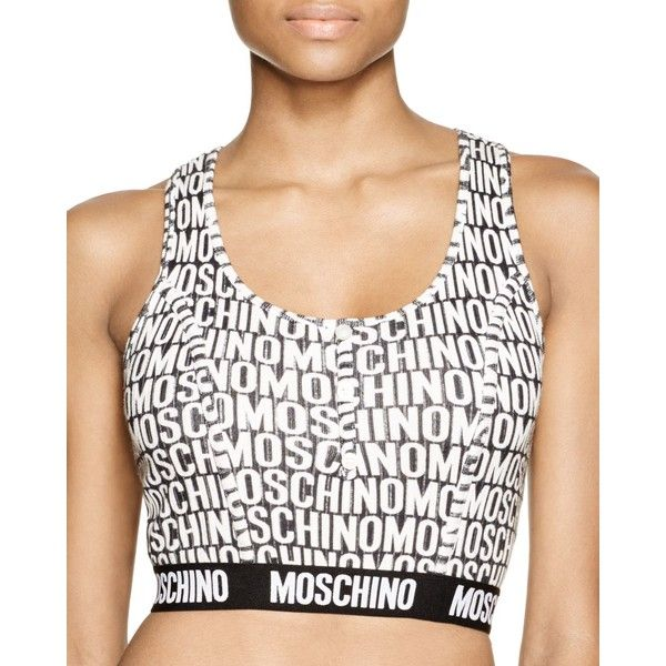Moschino Logo Crop Top ($165) ❤ liked on Polyvore featuring tops, white wrap top, wrap top, white top, logo tops and moschino
