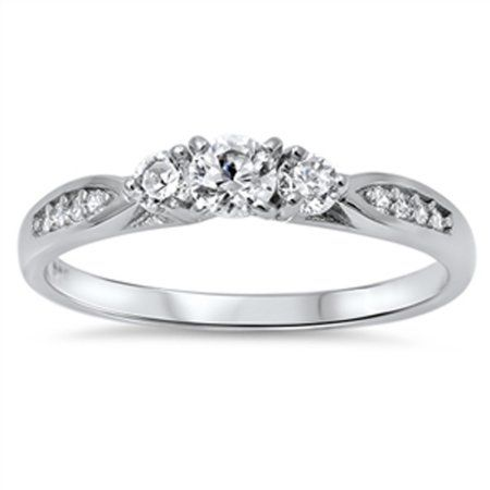 7b04d67433 Women's Wedding Love White CZ Promise Ring ( Sizes 4 5 6 7 8 9 10 ) .925  Sterling Silver Band Rings by Sac Silver (Size 10) - Walmart.com
