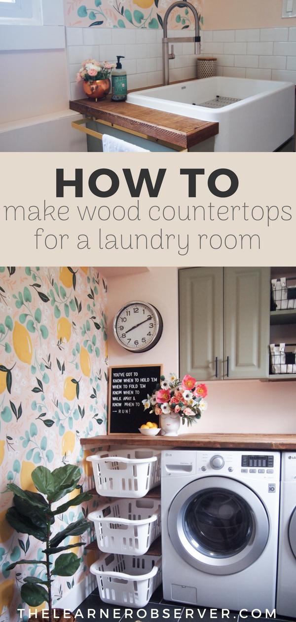 Diy Inexpensive Wood Countertop Laundry Room Wallpaper