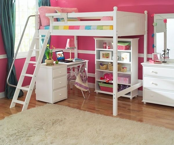Maxtrix Giant High Loft Bed With Desk And Bookcase Full Size White
