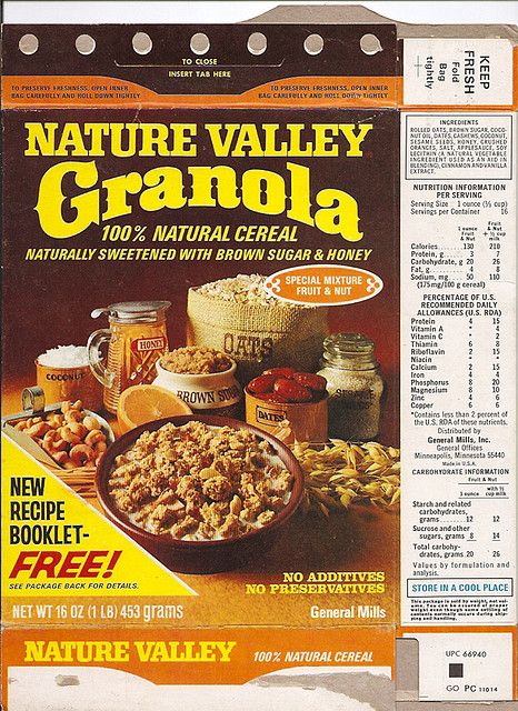 1979 General Mills Nature Valley Granola Cereal Box Front Nature