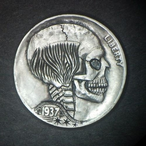 1937D-Hobo-Nickel-Bald-Skull-Hand-carved-by-Jay-L-DeBoer-OOAK-OHNS