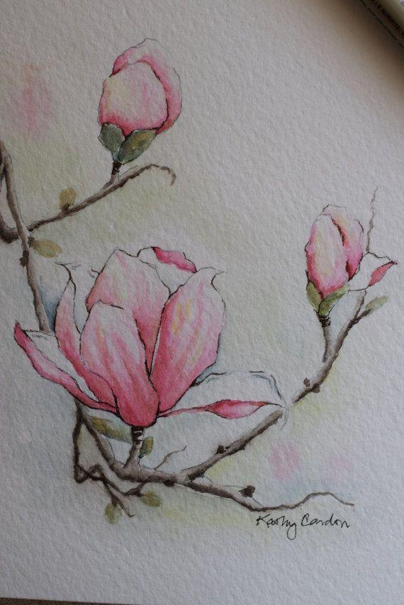 Hübsche Magnolie mit 3 Blüten!  Drucke--Dies ist ein Druck von der ursprünglichen handgemalten Aquarell-Grußkarte auf 140 Pfund. Säure frei, Strathmore Aquarellpapier. Alle Karten sind entworfen und von mir gemalt. Dimension der Karte ist 5 X 6⅞. Passendem Umschlag enthalten. Drucke sind auf Aquarellpapier Strathmore.  Diese Karte kann auch problemlos in jedem Frame, der 5 von 7 Gemälde, passt passen, wie auf dem vierten Bild zu sehen. (Drittes Bild zeigt, dass dieser Umschlag enthalten ist. ...