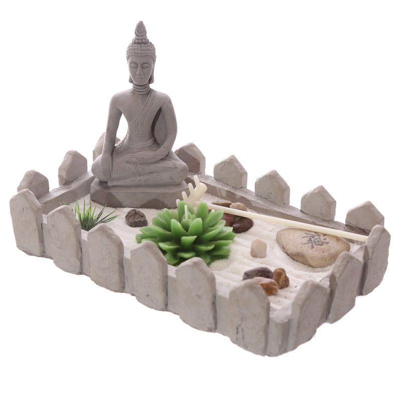 Rectangular Buddha Zen Garden Tea Light Holder Set New Home Ornament  Decorative
