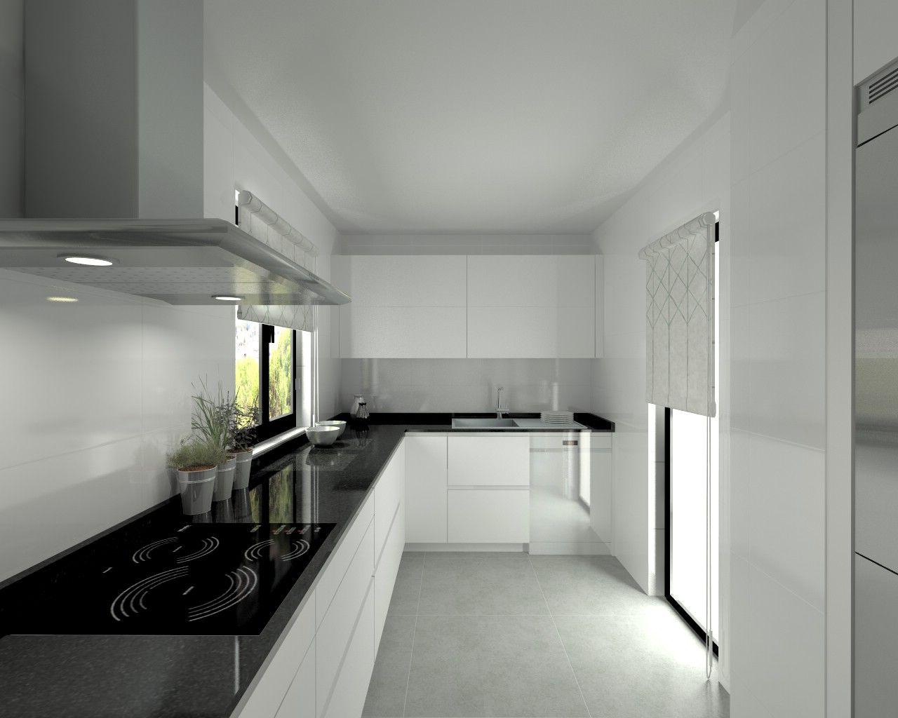 Modelo line l blanco seda encimera granito negro for Granito color blanco