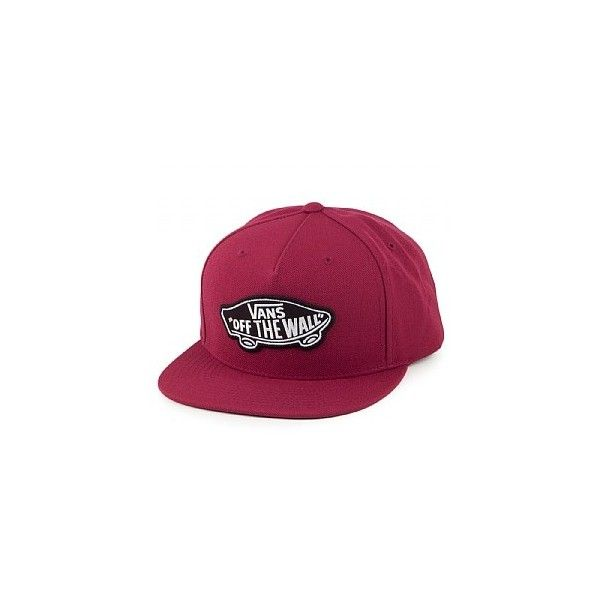 Vans Hats Classic Patch Snapback Cap Burgundy ($38) ❤ liked on Polyvore featuring accessories, hats, snapback hats, caps hats, snap back hats, vans snapback and cap snapback