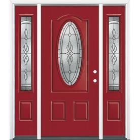 Superieur Masonite Hampton Decorative Glass Left Hand Inswing Roma Red Painted  Fiberglass Prehung Entry Door With Sidelights And I