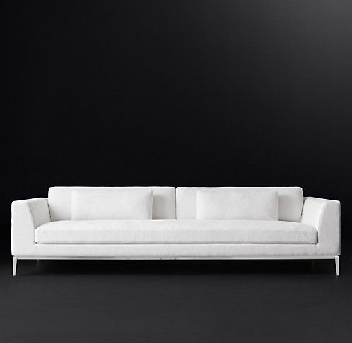 Italia Taper Arm Fabric Sofa Rh Modern But In Light Grey