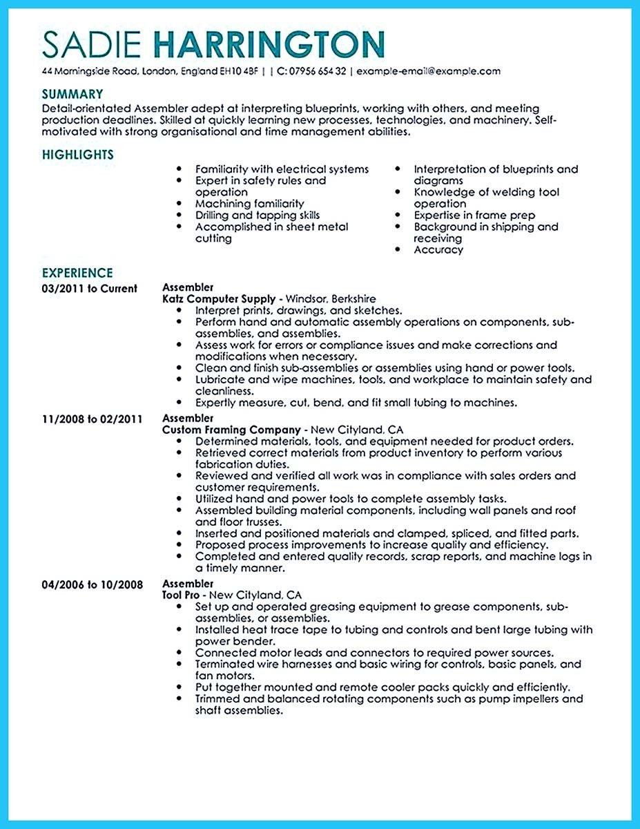awesome professional assembly line worker resume to make
