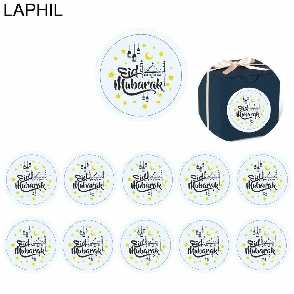 56 PCS Eid Mubarak Decor Paper Sticker Label Seal Gift Islamic Ramadan Supplies