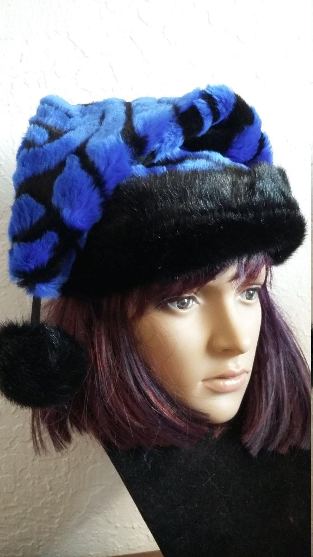 8d53d718af5f9 Royal blue and black Zebra print Santa hat with short black fur trim by  OriginalsByEva on Etsy