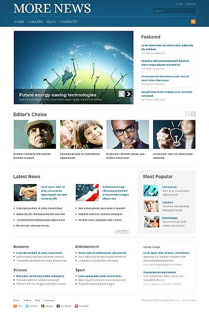 Template 38687 - News Site Joomla Template With Blog, Gallery