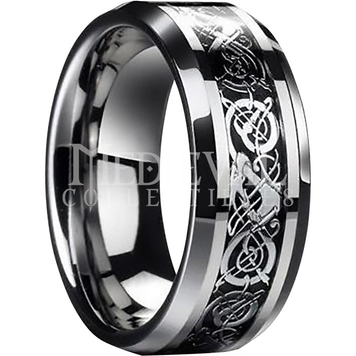Tungsten Viking Scrollwork Ring DS4004 Stainless