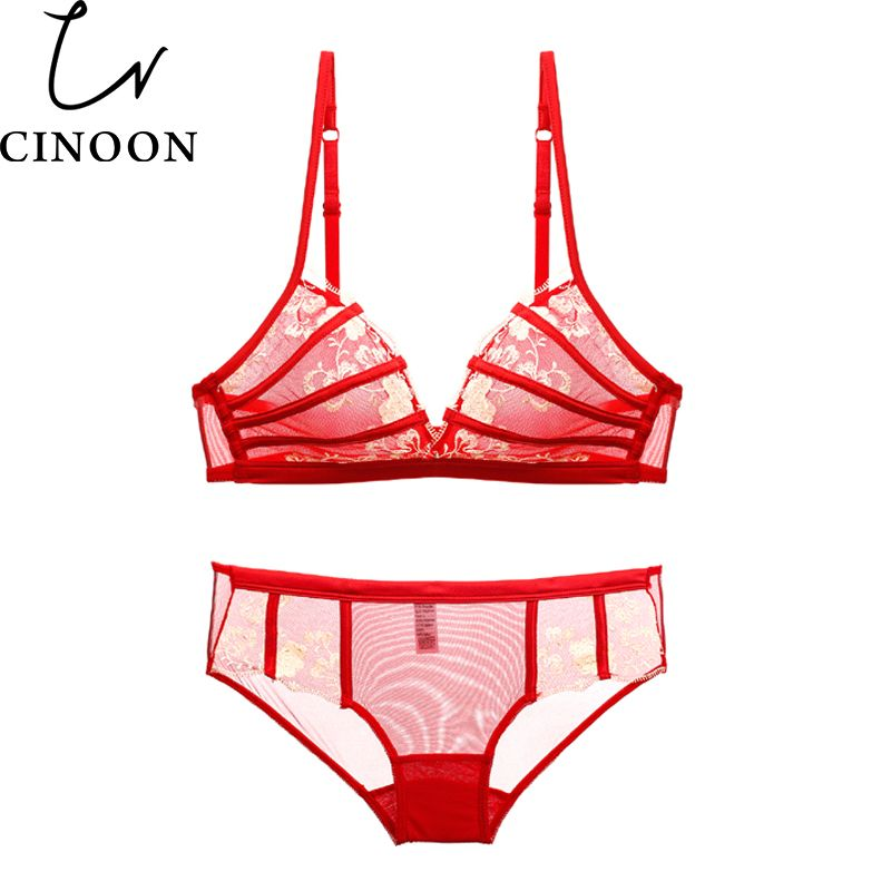 318e9728ee229 CINOON Sexy Women Lace Plunge Wireless Bra Set Seamless One-Piece Mating Bra  and Panties Set embroidery underwear suits