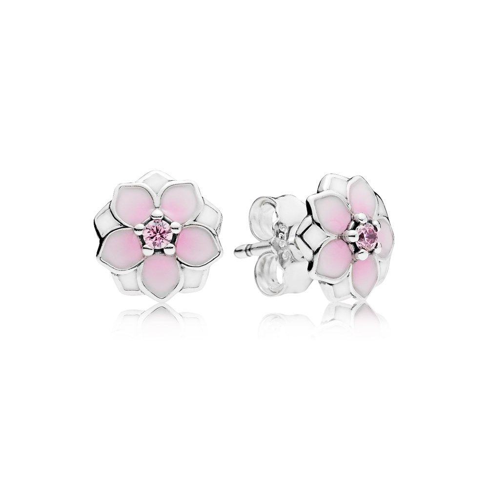 Stonebeads Pink Cherry Blossom Flower Stud Earrings in 925 sterling silver with pink enamel flowers.