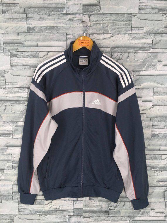 f3ac6f573a4e ADIDAS Trainer Jacket Mens Large Gray Vintage 90 s Adidas Three Stripes  Track Top Sportswear Windbre