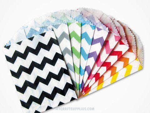 Multi-Color Chevron Paper Bags in Small and Medium