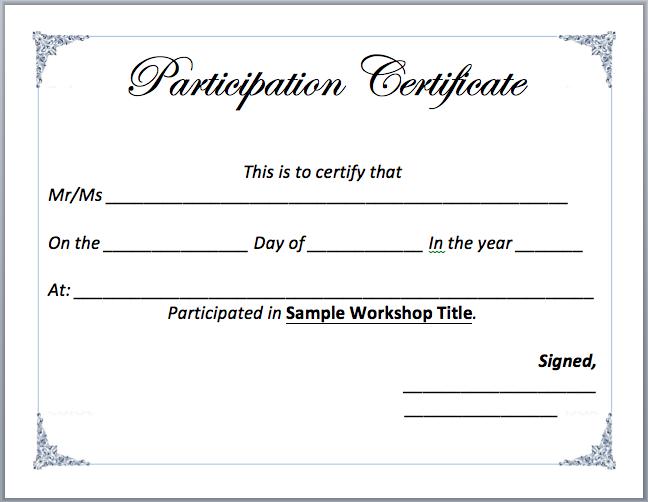 Certificate Of Participation In Workshop Template Workshop